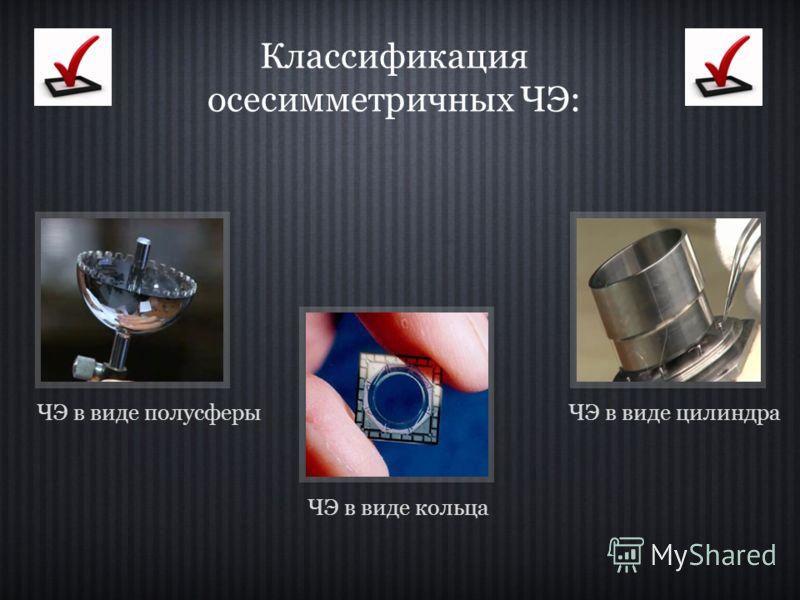 Классификация осесимметричных ЧЭ: ЧЭ в виде кольца ЧЭ в виде полусферыЧЭ в виде цилиндра