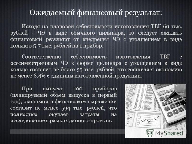 Ожидаемый финансовый результат: Исходя из плановой себестоимости изготовления ТВГ 60 тыс. рублей - ЧЭ в виде обычного цилиндра, то следует ожидать финансовый результат от внедрения ЧЭ с утолщением в виде кольца в 5-7 тыс. рублей на 1 прибор. При выпу