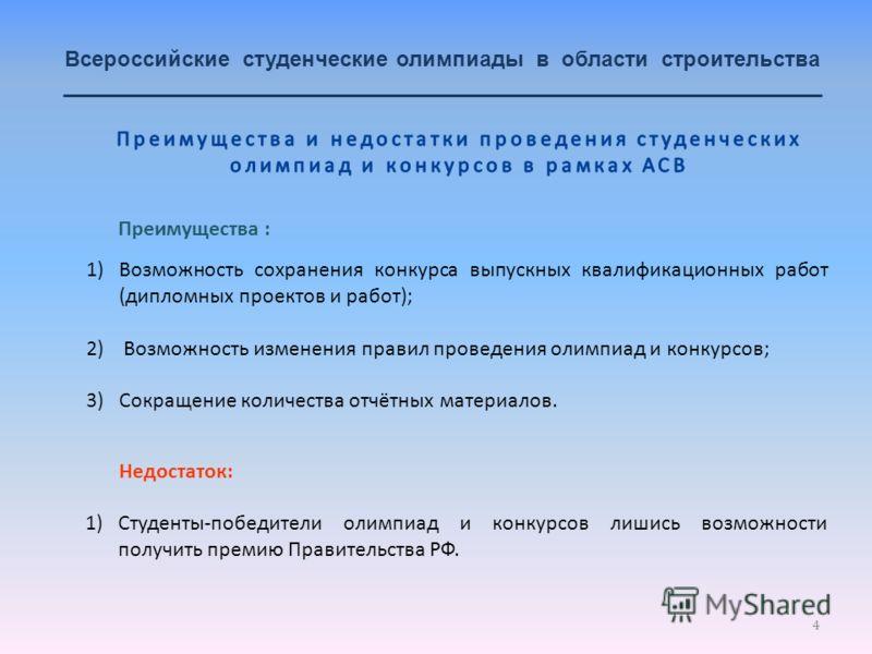 4 Всероссийские студенческие олимпиады в области строительства _______________________________________________________________ 1)Возможность сохранения конкурса выпускных квалификационных работ (дипломных проектов и работ); 2) Возможность изменения п
