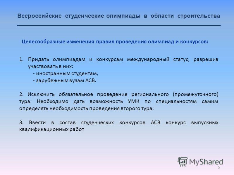 5 Всероссийские студенческие олимпиады в области строительства _______________________________________________________________ 1.Придать олимпиадам и конкурсам международный статус, разрешив участвовать в них: - иностранным студентам, - зарубежным ву