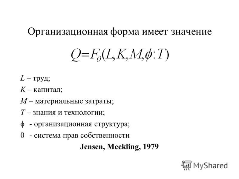 Организационная форма имеет значение L – труд; K – капитал; M – материальные затраты; T – знания и технологии; - организационная структура; - система прав собственности Jensen, Meckling, 1979