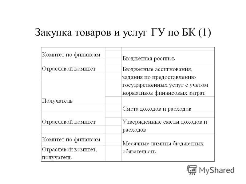 Закупка товаров и услуг ГУ по БК (1)