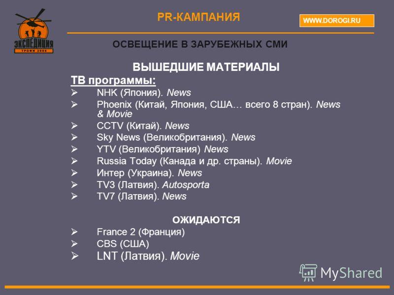 ВЫШЕДШИЕ МАТЕРИАЛЫ ТВ программы: NHK (Япония). News Phoenix (Китай, Япония, США… всего 8 стран). News & Movie CCTV (Китай). News Sky News (Великобритания). News YTV (Великобритания) News Russia Today (Канада и др. страны). Movie Интер (Украина). News