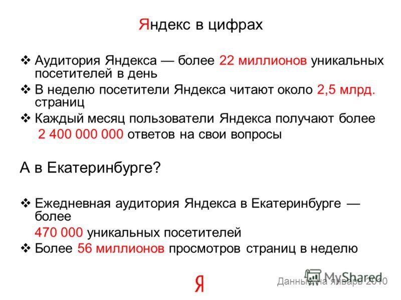 Аудитория Яндекса более 22 миллионов уникальных посетителей в день В неделю посетители Яндекса читают около 2,5 млрд. страниц Каждый месяц пользователи Яндекса получают более 2 400 000 000 ответов на свои вопросы А в Екатеринбурге? Ежедневная аудитор