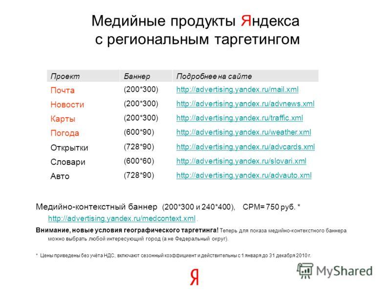 Медийно-контекстный баннер (200*300 и 240*400), CPM= 750 руб. * http://advertising.yandex.ru/medcontext.xml. http://advertising.yandex.ru/medcontext.xml Внимание, новые условия географического таргетинга! Теперь для показа медийно-контекстного баннер