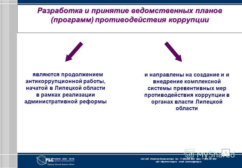 ЗАО « АКГ « Развитие бизнес-систем » тел.: +7 (495) 967 6838 факс: +7 (495) 967 6843 сайт: http://www.rbsys.ru e-mail: common@rbsys.ru 4 Разработка и принятие ведомственных планов (программ) противодействия коррупции являются продолжением антикоррупц