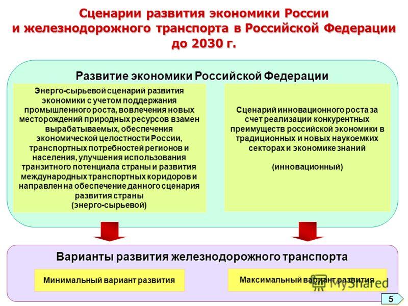 Сценарии развития экономики России и железнодорожного транспорта в Российской Федерации до 2030 г. Развитие экономики Российской Федерации Энерго-сырьевой сценарий развития экономики с учетом поддержания промышленного роста, вовлечения новых месторож