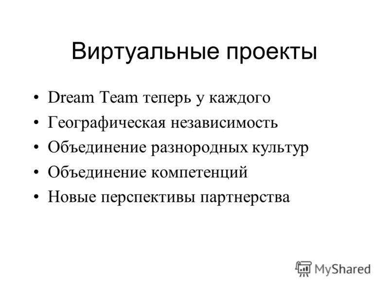 Виртуальные проекты Dream Team теперь у каждого Географическая независимость Объединение разнородных культур Объединение компетенций Новые перспективы партнерства