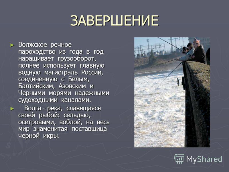 ЗАВЕРШЕНИЕ Волжское речное пароходство из года в год наращивает грузооборот, полнее использует главную водную магистраль России, соединенную с Белым, Балтийским, Азовским и Черными морями надежными судоходными каналами. Волжское речное пароходство и