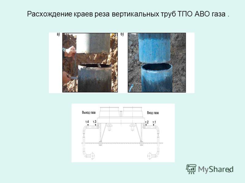 5 Расхождение краев реза вертикальных труб ТПО АВО газа.