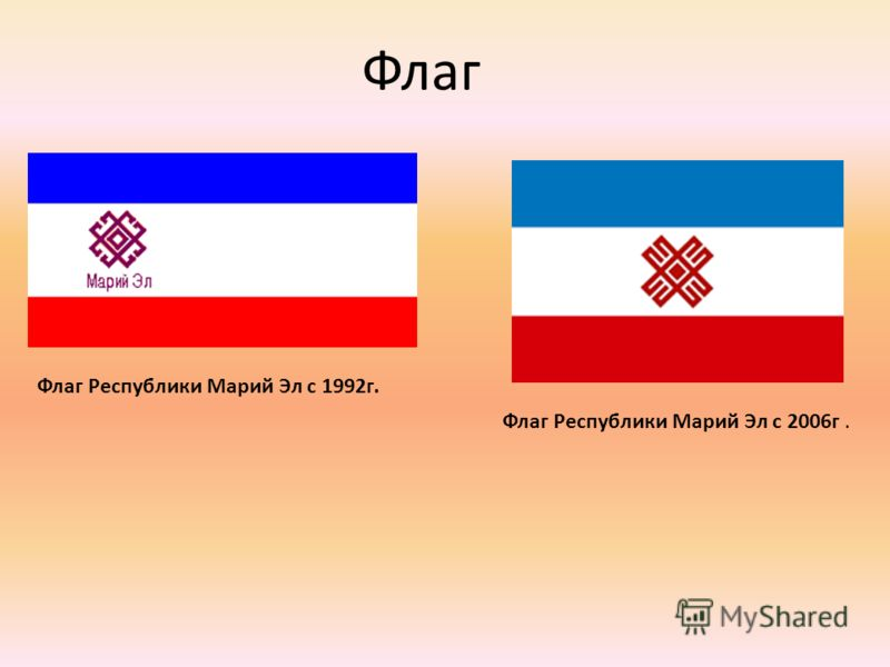 Флаг Республики Марий Эл с 1992г. Флаг Республики Марий Эл с 2006г. Флаг