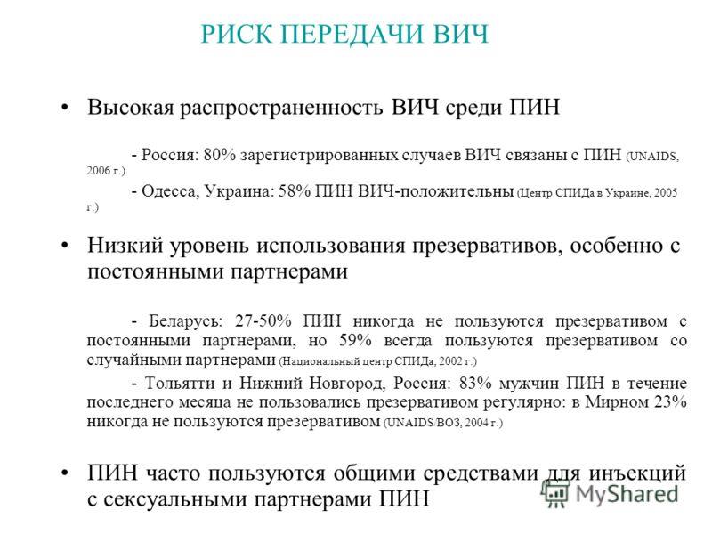 РИСК ПЕРЕДАЧИ ВИЧ Высокая распространенность ВИЧ среди ПИН - Россия: 80% зарегистрированных случаев ВИЧ связаны с ПИН (UNAIDS, 2006 г.) - Одесса, Украина: 58% ПИН ВИЧ-положительны (Центр СПИДа в Украине, 2005 г.) Низкий уровень использования презерва