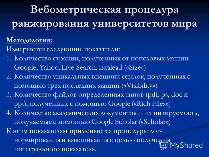 Вебометрическая процедура ранжирования университетов мира Методология: Измеряются следующие показатели: 1.Количество страниц, полученных от поисковых машин Google, Yahoo, Live Search, Exalead («Size») 2.Количество уникальных внешних ссылок, полученны