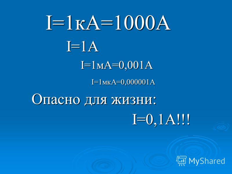 I=1кА=1000А I=1кА=1000А I=1A I=1A I=1мА=0,001А I=1мА=0,001А I=1мкА=0,000001А I=1мкА=0,000001А Опасно для жизни: Опасно для жизни: I=0,1A!!! I=0,1A!!!