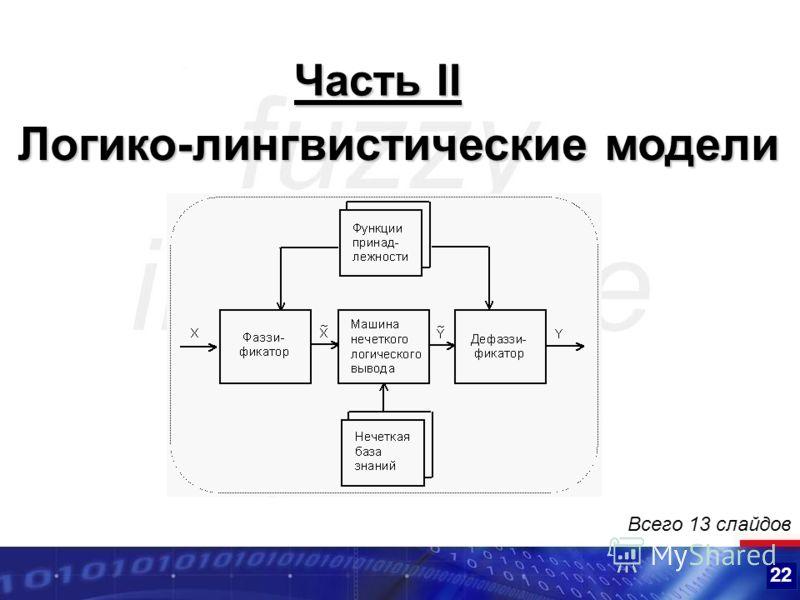 22 Логико-лингвистические модели Часть II Всего 13 слайдов