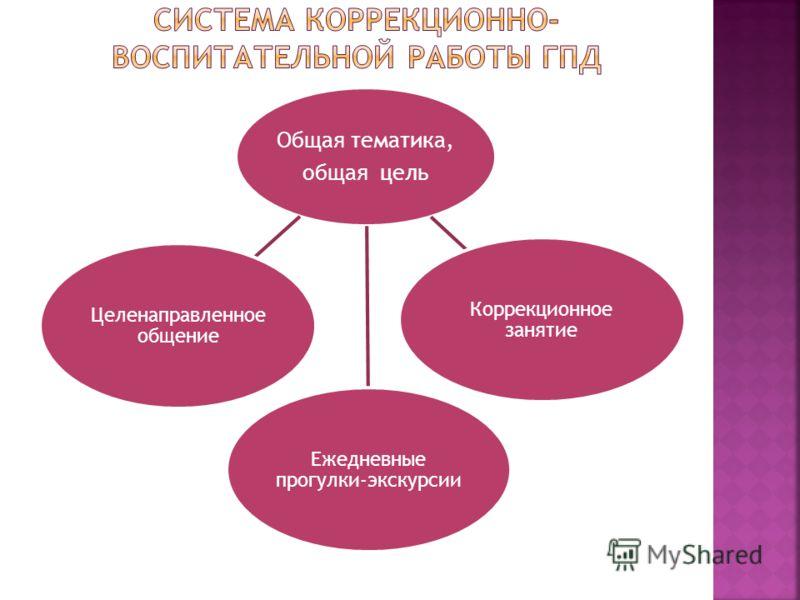 Общая тематика, общая цель Целенаправленное общение Коррекционное занятие Ежедневные прогулки-экскурсии