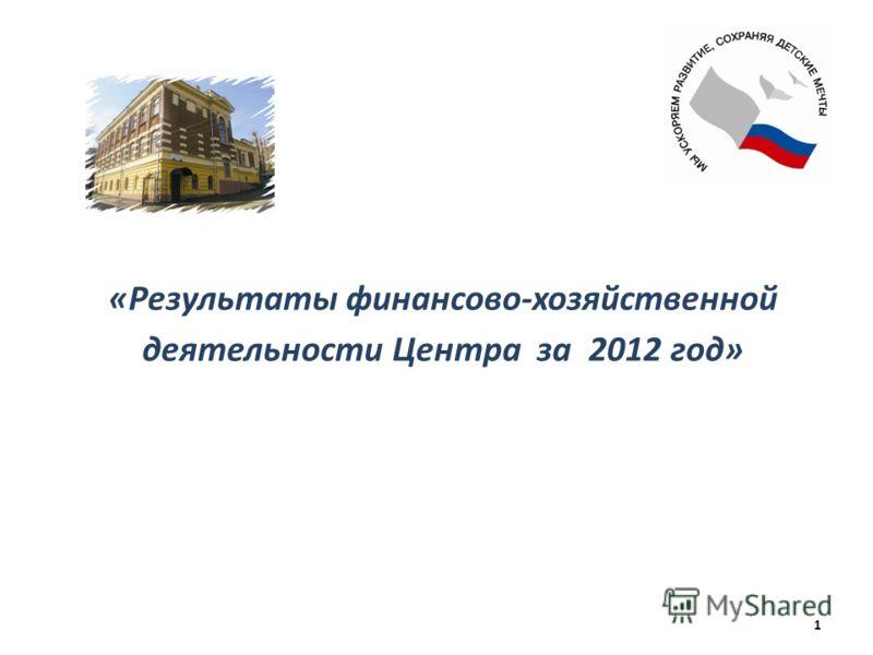 «Результаты финансово-хозяйственной деятельности Центра за 2012 год» 1