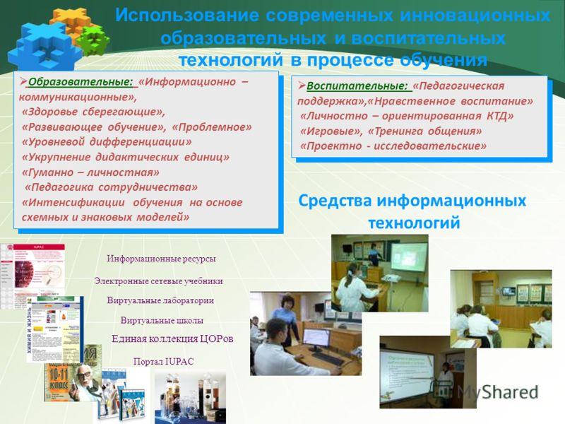 Использование современных инновационных образовательных и воспитательных технологий в процессе обучения Образовательные: «Информационно – коммуникационные», «Здоровье сберегающие», «Развивающее обучение», «Проблемное» «Уровневой дифференциации» «Укру