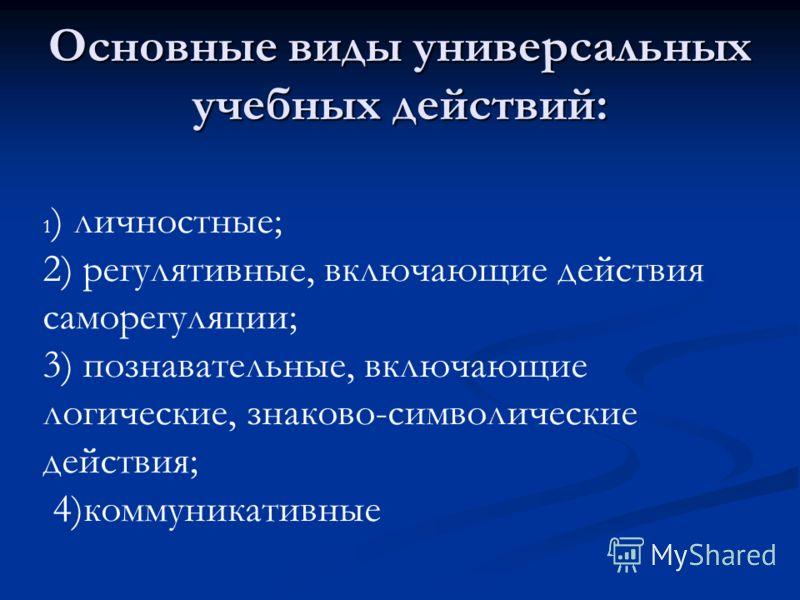 Основные виды универсальных учебных действий: 1 ) личностные; 2) регулятивные, включающие действия саморегуляции; 3) познавательные, включающие логические, знаково-символические действия; 4)коммуникативные
