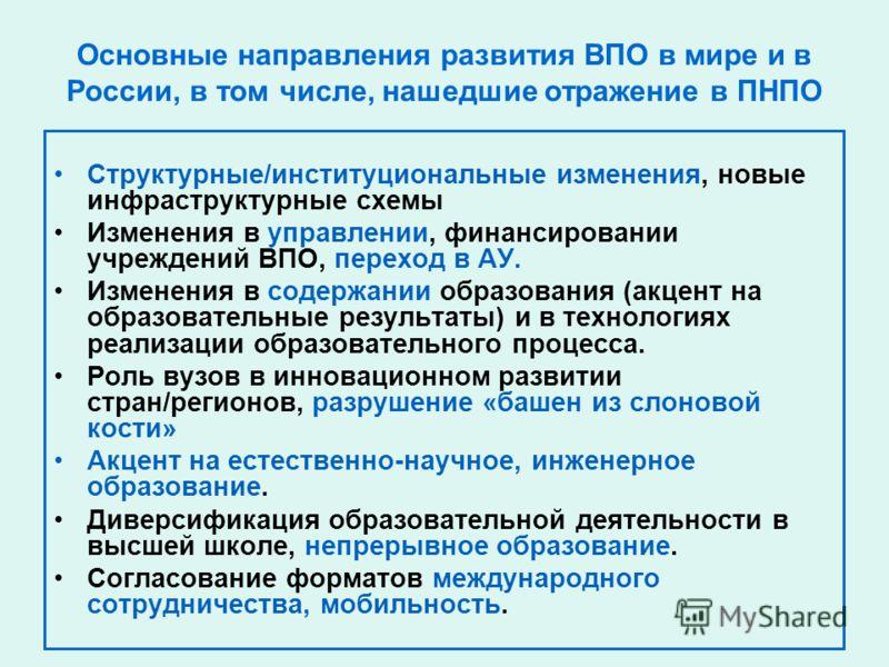 Основные направления развития ВПО в мире и в России, в том числе, нашедшие отражение в ПНПО Структурные/институциональные изменения, новые инфраструктурные схемы Изменения в управлении, финансировании учреждений ВПО, переход в АУ. Изменения в содержа