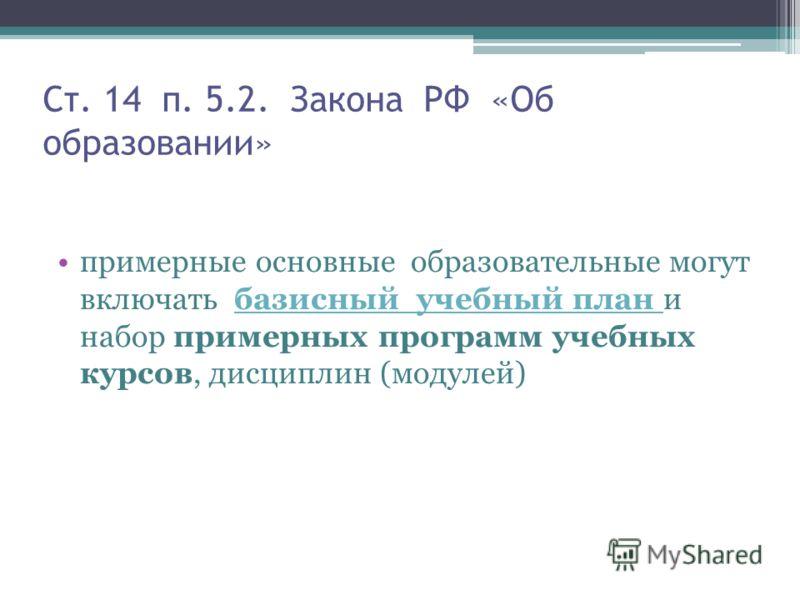 Ст. 14 п. 5.2. Закона РФ «Об образовании» примерные основные образовательные могут включать базисный учебный план и набор примерных программ учебных курсов, дисциплин (модулей)базисный учебный план