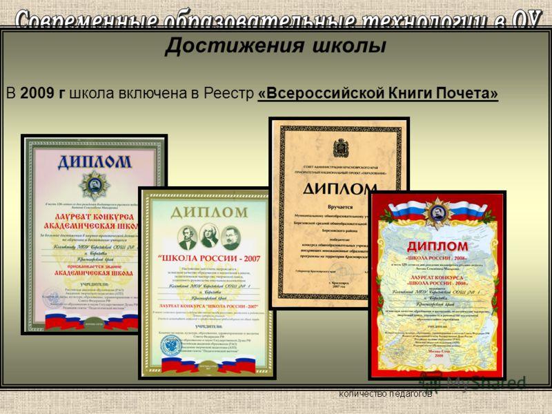 Достижения школы В 2009 г школа включена в Реестр «Всероссийской Книги Почета»