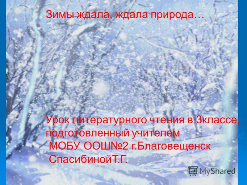 Зимы ждала, ждала природа… Урок литературного чтения в 3классе, подготовленный учителем МОБУ ООШ2 г.Благовещенск СпасибинойТ.Г.