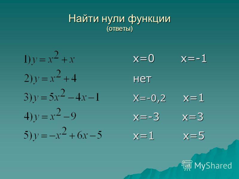 Найти нули функции (ответы) х=0 х=-1 нет Х=-0,2 х=1 х=-3 х=3 х=1 х=5 х=1 х=5