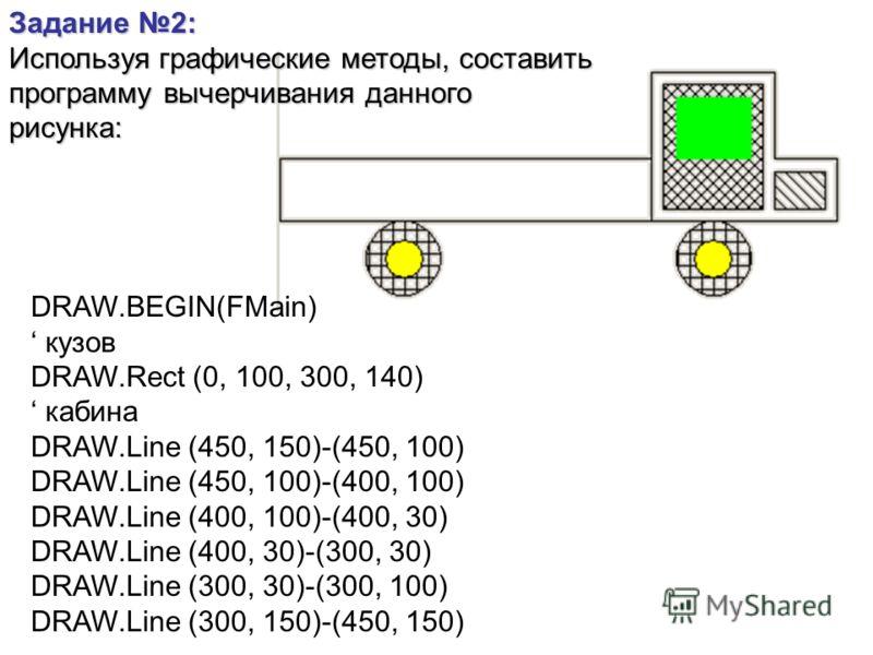 Задание 2: Используя графические методы, составить программу вычерчивания данного рисунка: DRAW.BEGIN(FMain) кузов DRAW.Rect (0, 100, 300, 140) кабина DRAW.Line (450, 150)-(450, 100) DRAW.Line (450, 100)-(400, 100) DRAW.Line (400, 100)-(400, 30) DRAW
