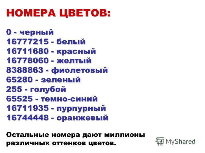 НОМЕРА ЦВЕТОВ: 0 - черный 16777215 - белый 16711680 - красный 16778060 - желтый 8388863 - фиолетовый 65280 - зеленый 255 - голубой 65525 - темно-синий 16711935 - пурпурный 16744448 - оранжевый НОМЕРА ЦВЕТОВ: 0 - черный 16777215 - белый 16711680 - кра