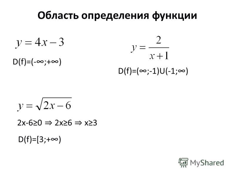 Область определения функции D(f)=(-;+) D(f)=(;-1)U(-1;) 2х-60 2х6 х3 D(f)=[3;+)