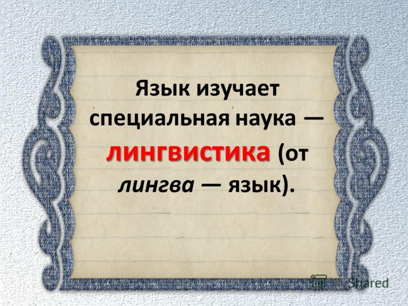 лингвистика Язык изучает специальная наука лингвистика (от лингва язык).