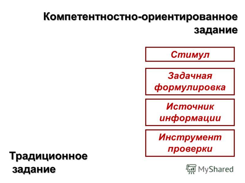 Компетентностно-ориентированное задание Стимул Задачная формулировка Источник информации Инструмент проверки Традиционное задание