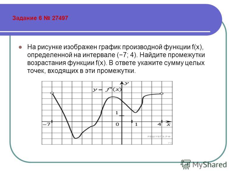 Задание 6 27497 На рисунке изображен график производной функции f(x), определенной на интервале (7; 4). Найдите промежутки возрастания функции f(x). В ответе укажите сумму целых точек, входящих в эти промежутки.