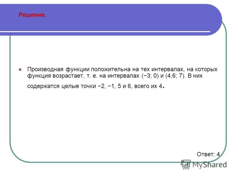 Решение. Производная функции положительна на тех интервалах, на которых функция возрастает, т. е. на интервалах (3; 0) и (4,6; 7). В них содержатся целые точки 2, 1, 5 и 6, всего их 4. Ответ: 4
