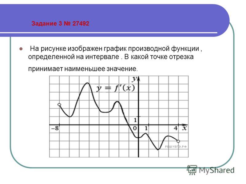 Задание 3 27492 На рисунке изображен график производной функции, определенной на интервале. В какой точке отрезка принимает наименьшее значение.