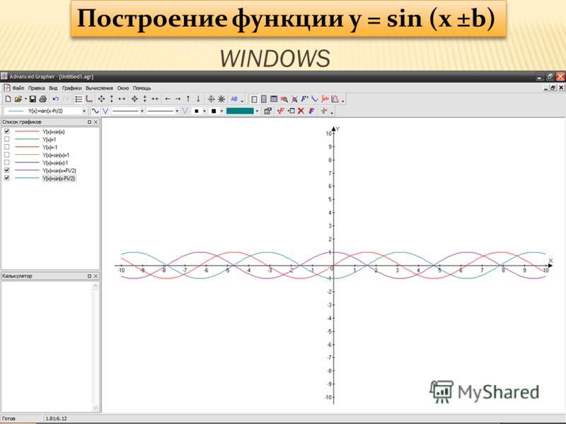 Построение функции y = sin (x ±b) WINDOWS