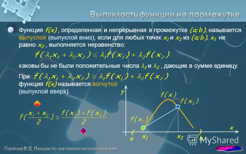x y a b Функция f(x), определенная и непрерывная в промежутке ( a; b ), называется выпуклой (выпуклой вниз), если для любых точек x 1 и x 2 из ( a; b ), x 1 не равно x 2, выполняется неравенство: каковы бы не были положительные числа 1 и 2, дающие в