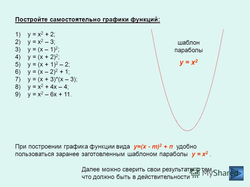 Из выше сказанного следует, что графиком функции y=(x - m) 2 + п является парабола с вершиной в точке (m; п). Ее можно получить из параболы y=x 2 с помощью двух последовательных сдвигов. Пример 3. Докажем, что графиком функции у = х 2 + 6х + 8 являет