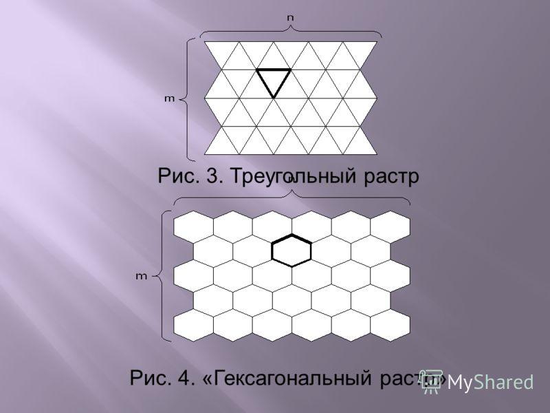 Рис. 3. Треугольный растр Рис. 4. «Гексагональный растр»