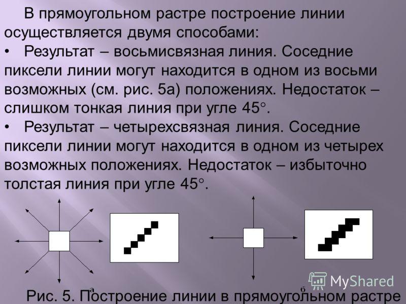 В прямоугольном растре построение линии осуществляется двумя способами: Результат – восьмисвязная линия. Соседние пиксели линии могут находится в одном из восьми возможных (см. рис. 5а) положениях. Недостаток – слишком тонкая линия при угле 45. Резул