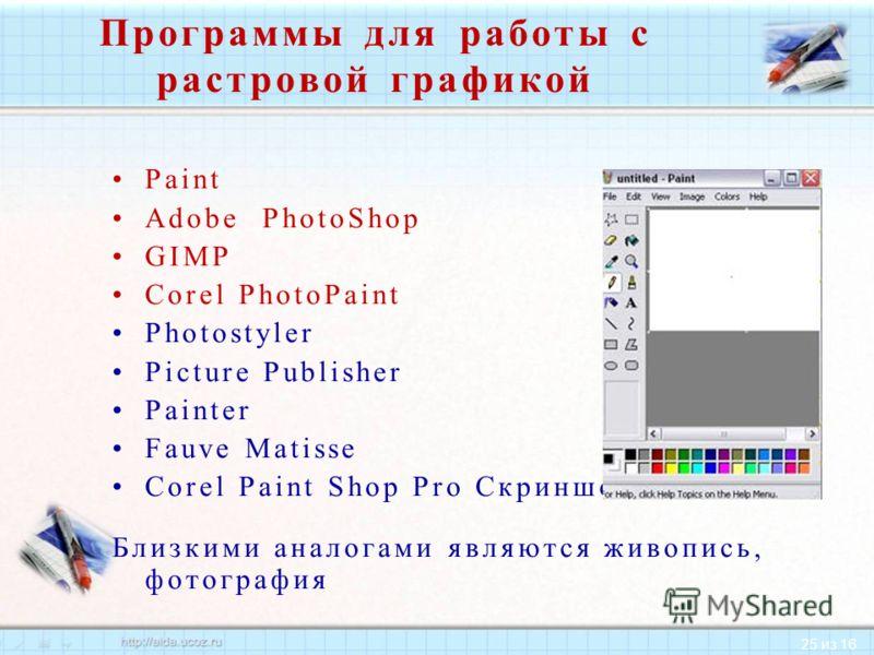 25 из 16 Программы для работы с растровой графикой Paint Adobe PhotoShop GIMP Corel PhotoPaint Photostyler Picture Publisher Painter Fauve Matisse Corel Paint Shop Pro Скриншот Близкими аналогами являются живопись, фотография