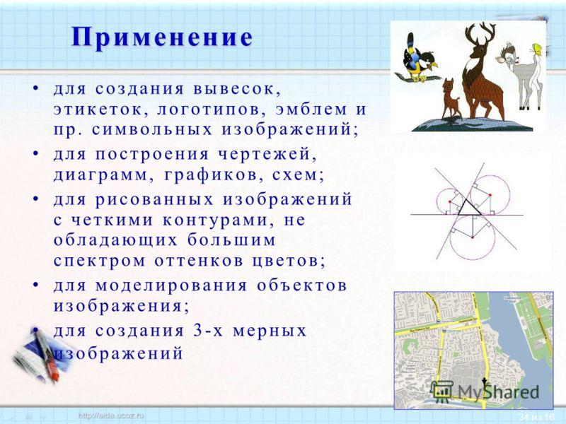 34 из 16Применение для создания вывесок, этикеток, логотипов, эмблем и пр. символьных изображений; для построения чертежей, диаграмм, графиков, схем; для рисованных изображений с четкими контурами, не обладающих большим спектром оттенков цветов; для