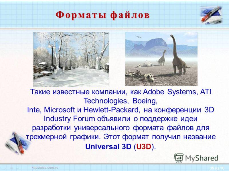 39 из 16 Такие известные компании, как Adobe Systems, ATI Technologies, Boeing, Inte, Microsoft и Hewlett-Packard, на конференции 3D Industry Forum объявили о поддержке идеи разработки универсального формата файлов для трехмерной графики. Этот формат