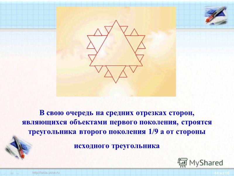 44 из 16 В свою очередь на средних отрезках сторон, являющихся объектами первого поколения, строятся треугольника второго поколения 1/9 а от стороны исходного треугольника
