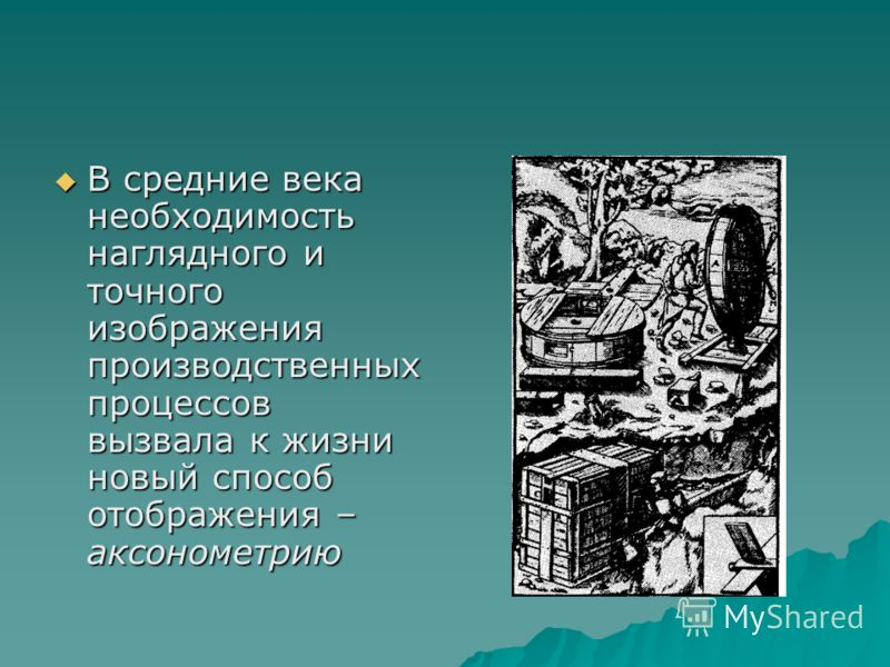 В средние века необходимость наглядного и точного изображения производственных процессов вызвала к жизни новый способ отображения – аксонометрию В средние века необходимость наглядного и точного изображения производственных процессов вызвала к жизни