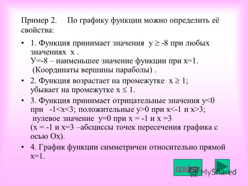 Пример 2. По графику функции можно определить её свойства: 1. Функция принимает значения у -8 при любых значениях х. У=-8 – наименьшее значение функции при х=1. (Координаты вершины параболы). 2. Функция возрастает на промежутке х 1; убывает на промеж