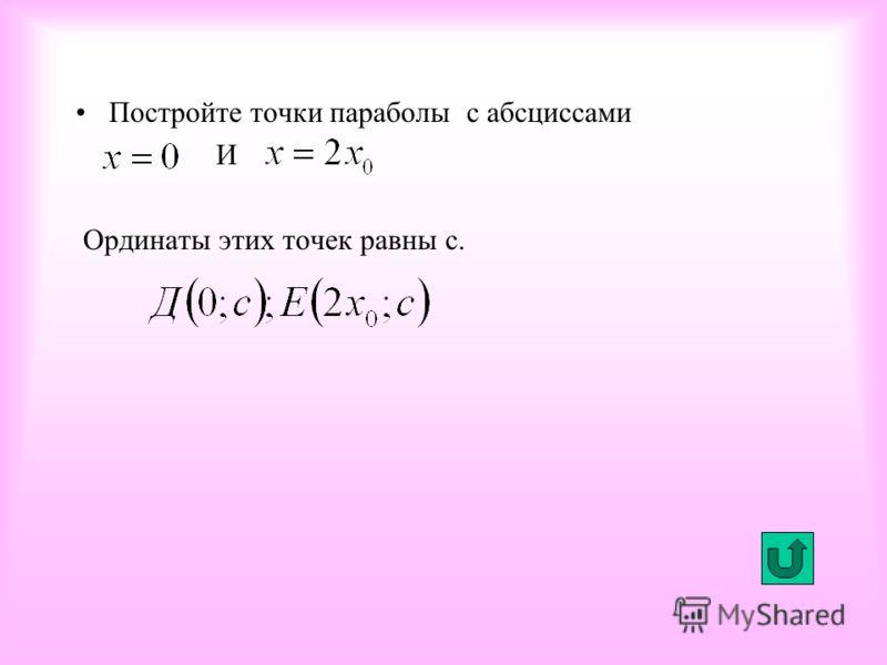 Постройте точки параболы с абсциссами И Ординаты этих точек равны с.