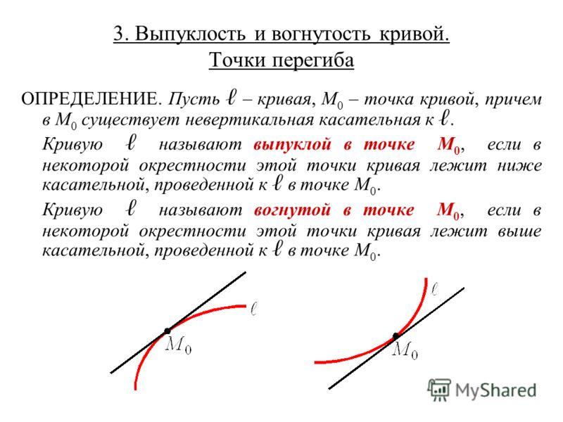 3. Выпуклость и вогнутость кривой. Точки перегиба ОПРЕДЕЛЕНИЕ. Пусть – кривая, M 0 – точка кривой, причем в M 0 существует невертикальная касательная к. Кривую называют выпуклой в точке M 0, если в некоторой окрестности этой точки кривая лежит ниже к