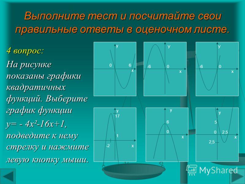 Выполните тест и посчитайте свои правильные ответы в оценочном листе. 3 вопрос: Укажите координаты вершины параболы а) А(3;6) А(3;6) б) А(-1;-17) А(-1;-17) в) А(1;-3) А(1;-3) г) А(1;-1) А(1;-1)